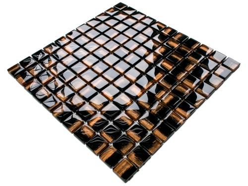 Mozaika Szklana Cooper Nero Czarna Miedziana Złota 30x30cm 8mm