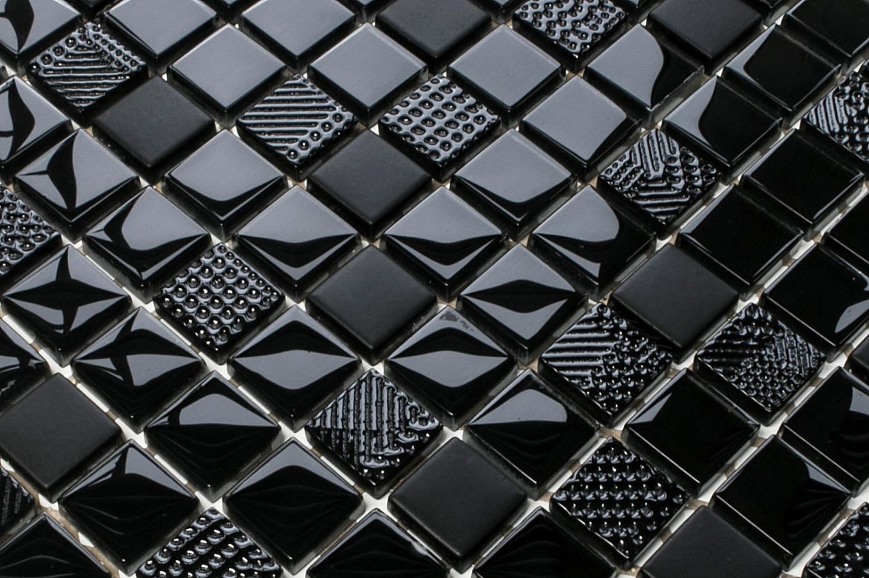 Mozaika Szklana Carbon Nero Czarna Magma Struktura 30x30cm 8mm